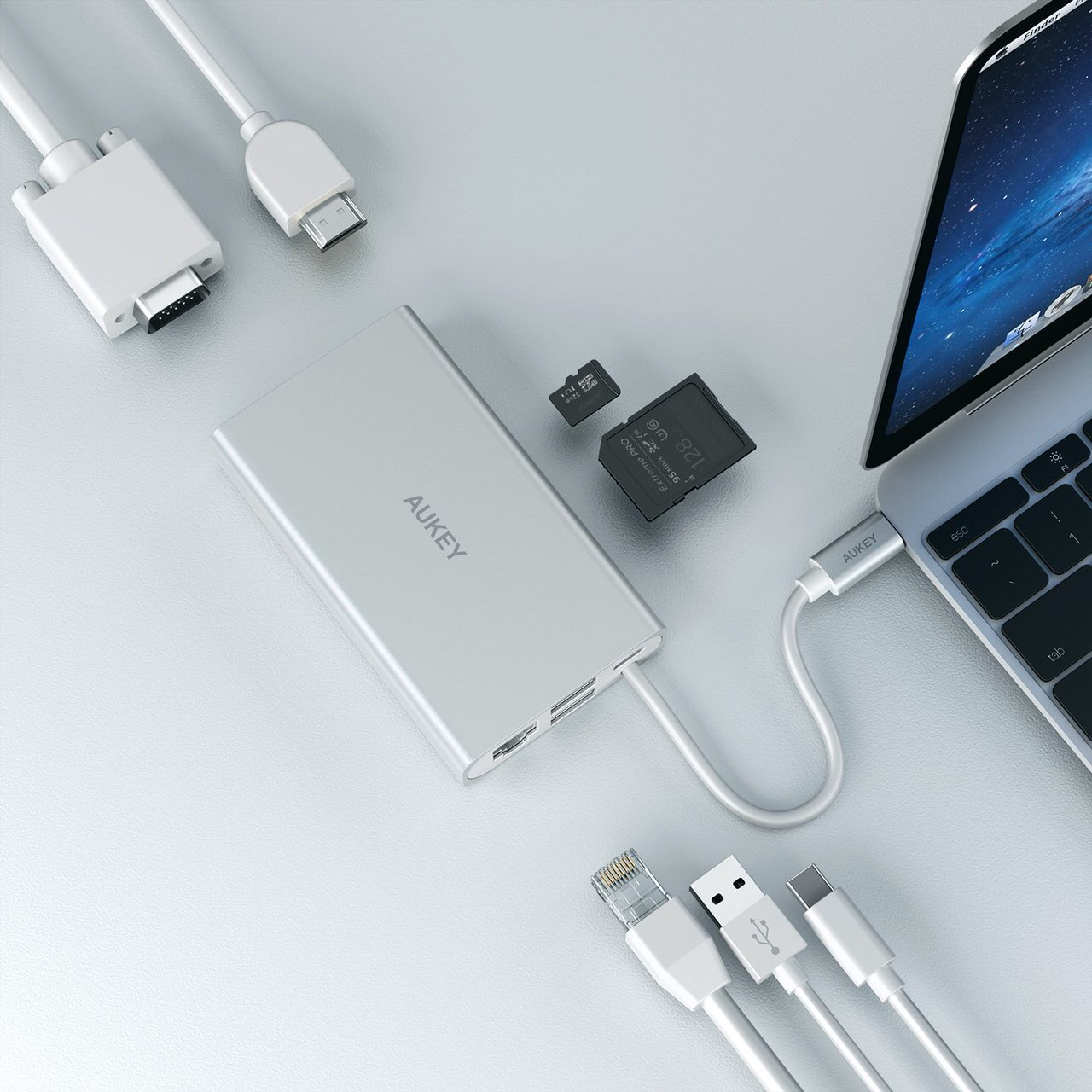 AUKEY、100W PD出力対応で8つの機能入り(HDMI・VGA・SDリーダーなど)USB-Cハブ「CB-C55」Amazonで36%オフの4,599円