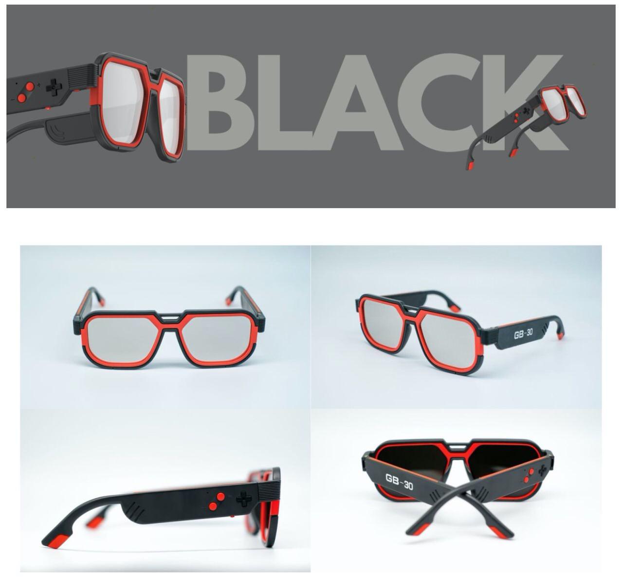 耳元で音が聴けるゲームボーイのようなレトロデザインのスマートメガネ「GB-30」