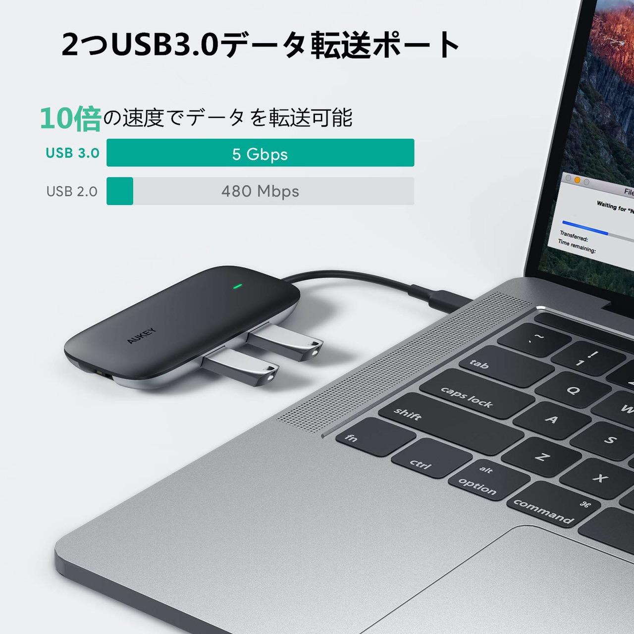 ギガビットイーサネット有線LANポート付きの4-in-1 USB-Cハブ「AUKEY CB-C74」がAmazonで40%オフ