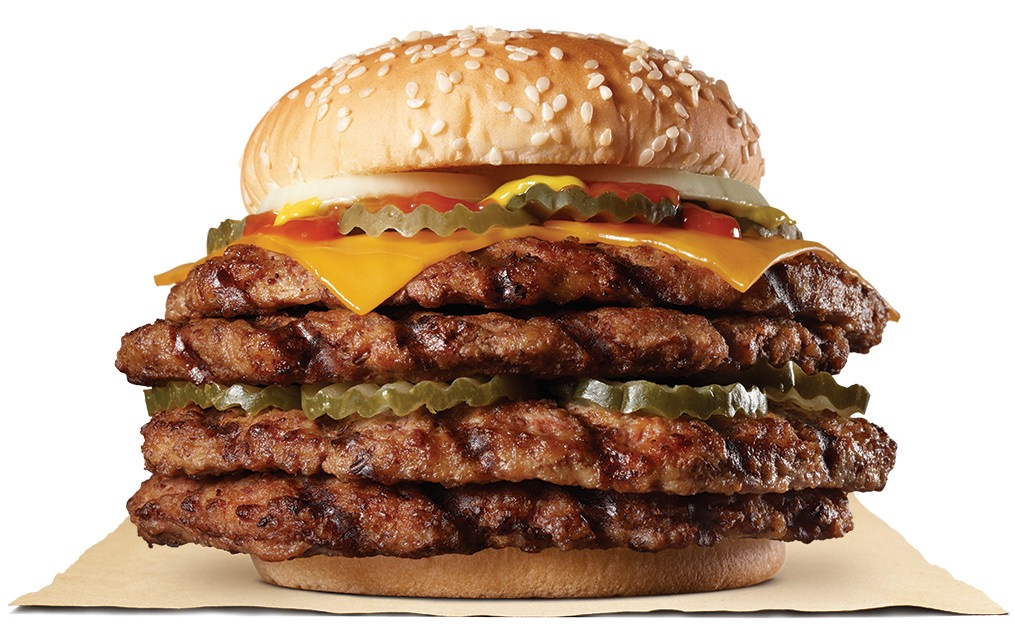 【バーガーキング】ビーフ総重量499g!直火焼き100%ビーフパティ4枚に特製スパイシーソースの刺激「ストロング超ワンパウンドビーフバーガー」テイクアウト限定で発売へ