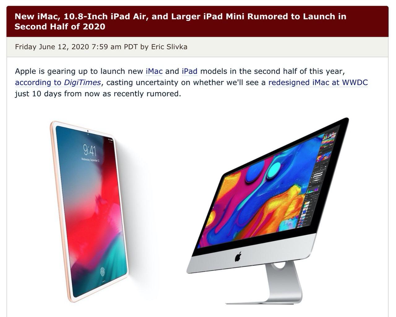 新しいiMac、10.8インチiPad Airが2020年後半に登場か?