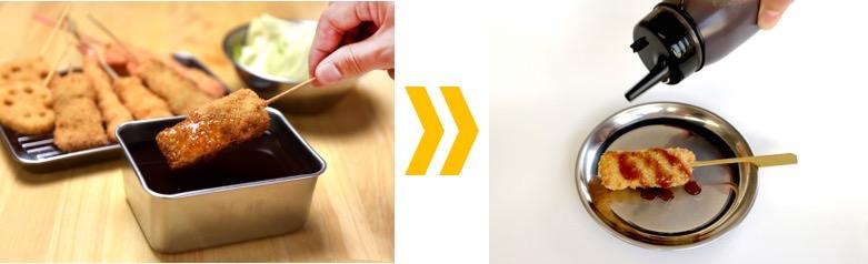 """「串カツ田中」新しい生活様式への対応でソース提供を""""つける""""から""""かける""""へ変更と発表"""