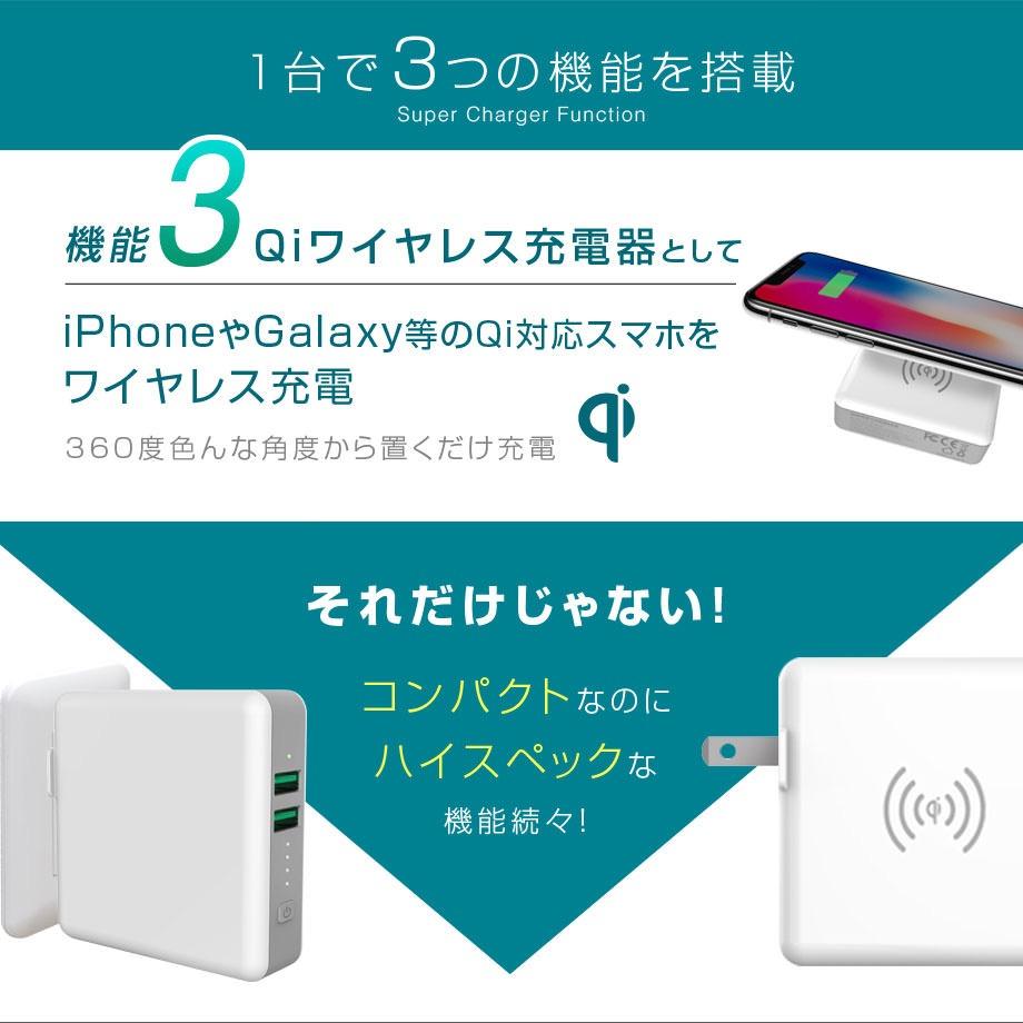 ワイヤレス充電が可能な折りたたみプラグ付き3in1モバイルバッテリー「SuperMobileChargerLite Aタイプ」セールで2,180円