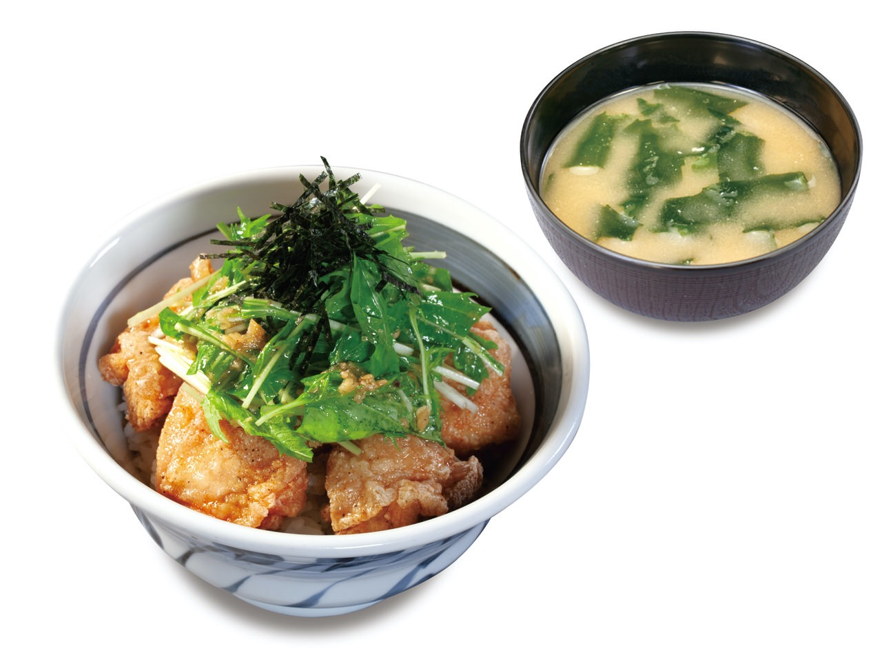 【松のや】鶏モモ肉の「塩ダレ鶏カラ丼」熟成ポークの「塩ダレかつ定食」鶏モモ肉丸ごと1枚の「塩ダレメガチキンかつ定食」発売(7/8〜)