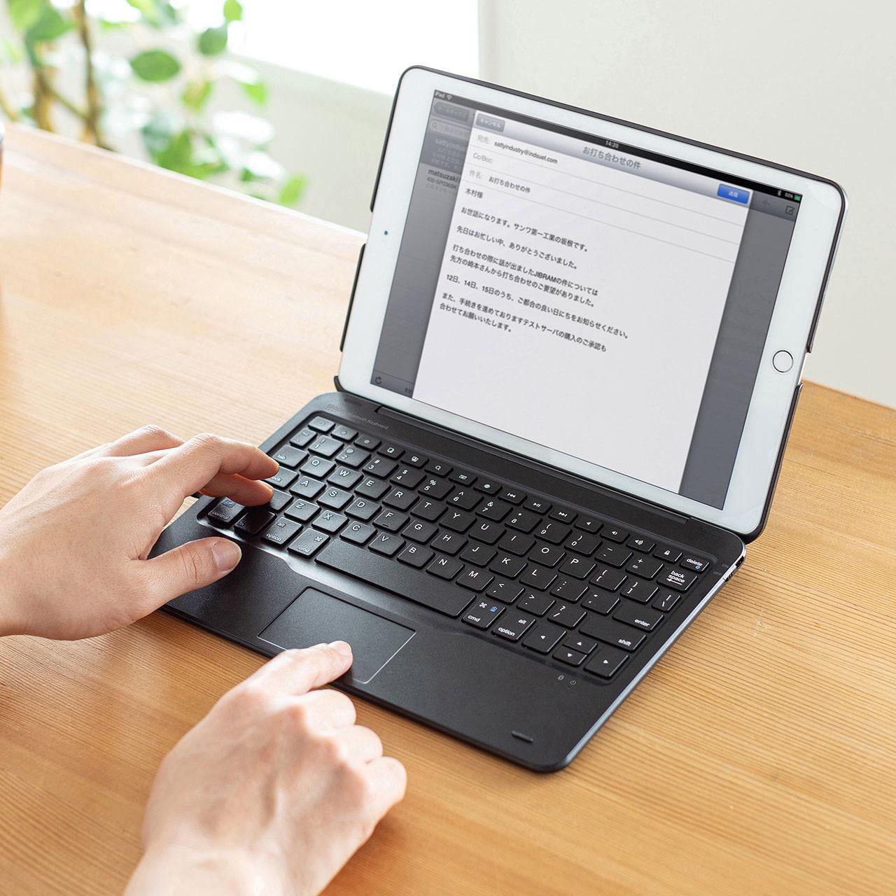まるでノートPC!タッチパッド内蔵の2019年版10.2インチiPad専用ケース付きBluetoothキーボード「SKB-BTIPAD2BK」