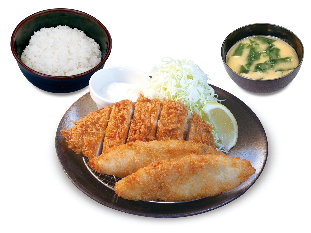 【松のや】熟成ポークかつの「ロースかつ&白身フライ定食」プリッとした海老フライとミルキーなカキフライの「海鮮盛り合わせ定食」発売
