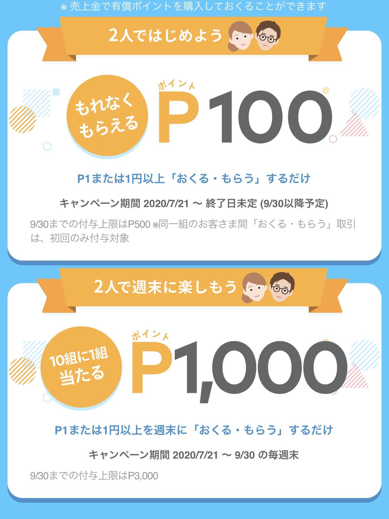 【メルカリ】もれなく100ポイント&抽選で1,000ポイントが貰えるメルペイ「おくる・もらう スタート」キャンペーン