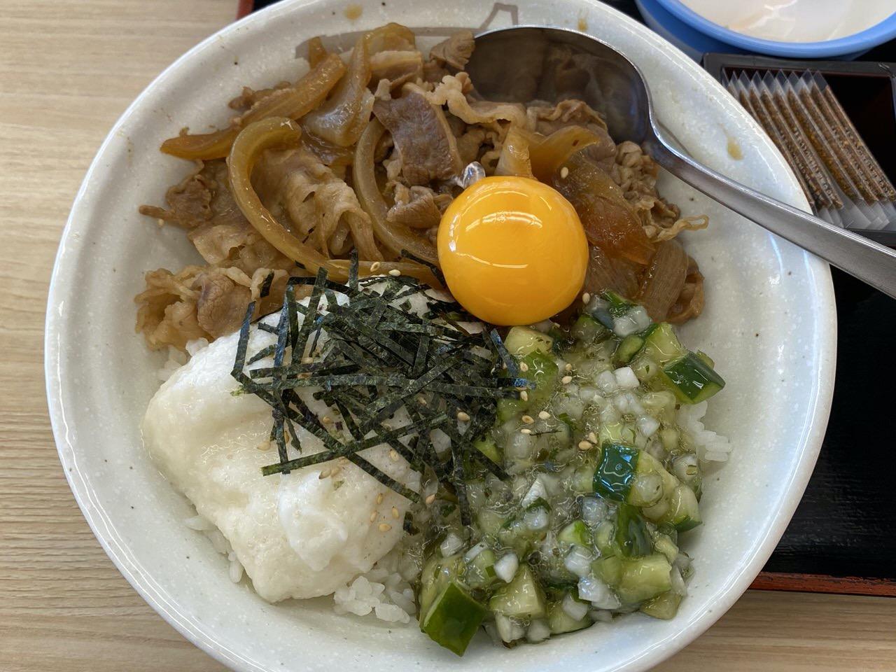 【松屋】暑い日にさっぱりと美味い!茎わさび&とろろ「山形だしの三色丼」食べてみた