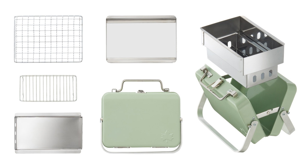 【ロゴス】片手でスタイリッシュに持ち運べるアタッシュケース型BBQグリル「グリルアタッシュ」発売開始