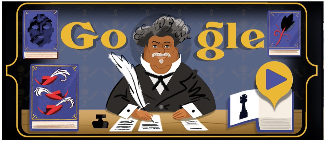 Googleロゴ「アレクサンドル・デュマ・ペール」に