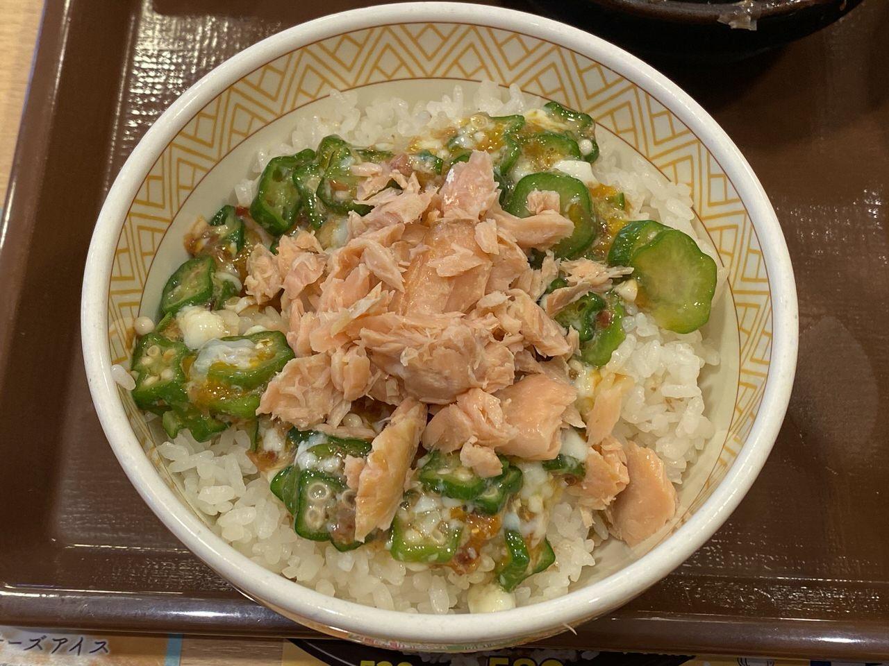すき家の朝食「鮭のっけ朝食」7