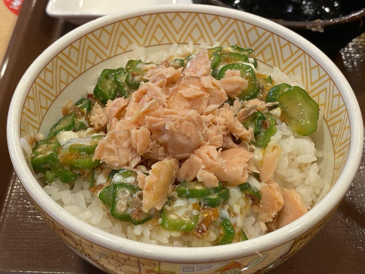 すき家の朝食「鮭のっけ朝食」8