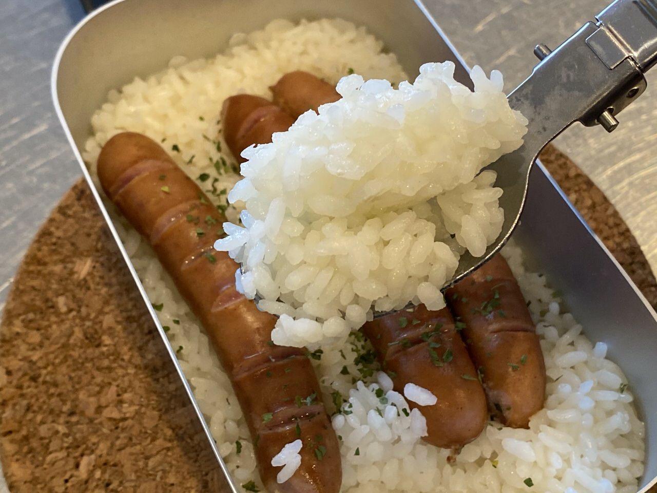 【メスティン】ソーセージ炊き込みごはん 13