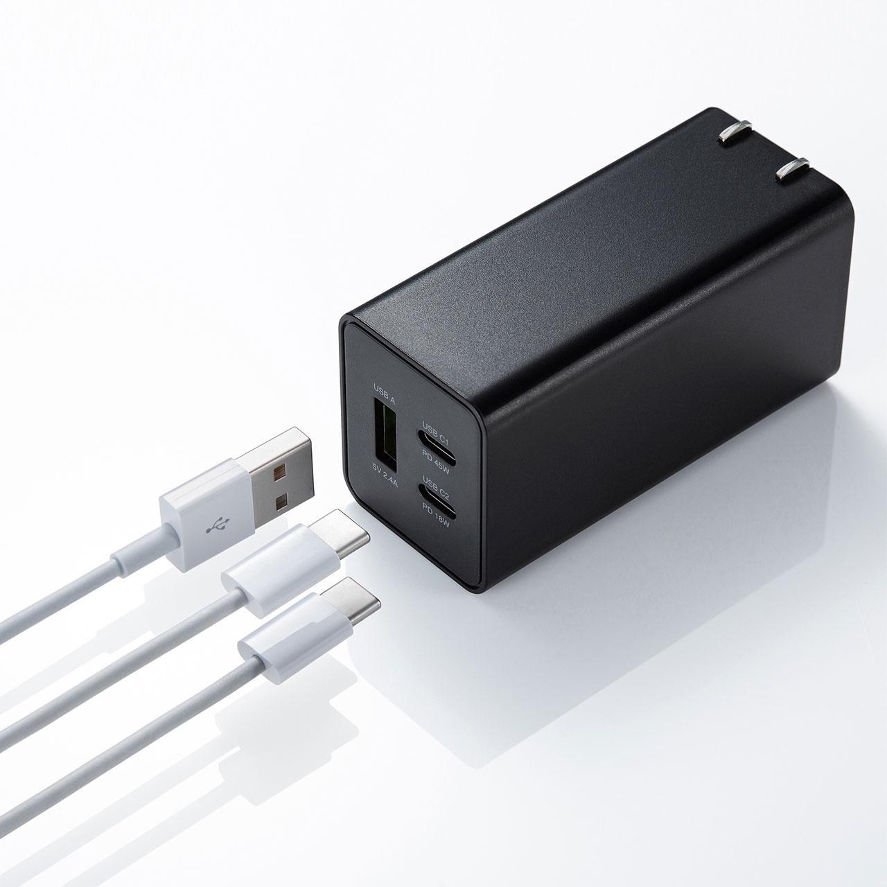 サンワサプライ、次世代半導体のGaN(窒化ガリウム)を採用しUSB PDに対応したコンパクトなAC充電器「ACA-PD73BK」発売