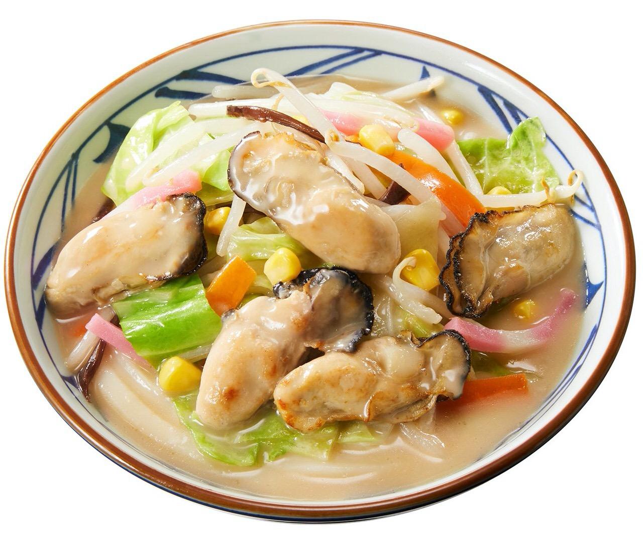 【丸亀製麺】広島県産浜ゆで牡蠣の旨みがたっぷりの「牡蠣ちゃんぽんうどん」発売開始