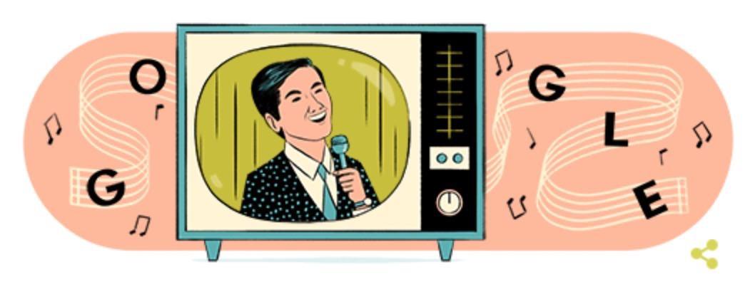 Googleロゴ「坂本九」に