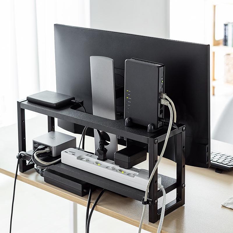 液晶ディスプレイなどPCモニター裏のデッドスペースを収納スペースに変える奥行きの狭い収納ラック4種が発売