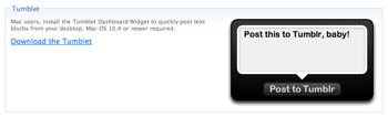 Tumblr用Dashboardウィジェット「Tumblet」