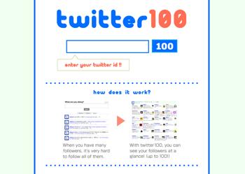 100人が何をしているか一覧できる「Twitter100」