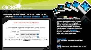 YouTube動画をアニメーションGIFに変換する「gickr」
