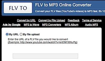 YouTubeのFLV動画をMP3に変換する「FLVto」