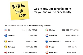 Apple Storeが「We'll be back soon」