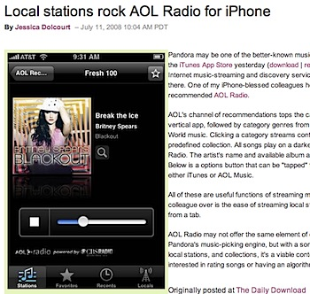 iPhoneでAOL Radioを聴ける「AOL Radio for iPhone」