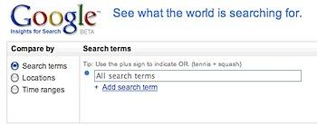 キーワードに関する検索数を調べたり比較できる「Google Insights for Search」