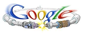 Googleロゴ「Large Hadron Collider(大型ハドロン衝突型加速器)」に