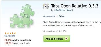 新規タブをすぐ隣に開くFirefoxアドオン「Tabs Open Relative」