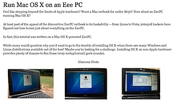 「Eee PC」でMac OS Xを動かす方法