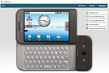 """「T-Mobile G1」オンラインエミュレータで""""Android""""体験"""