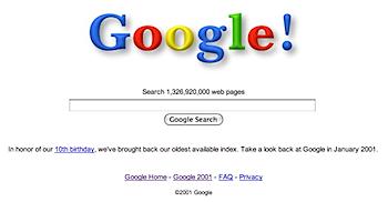 2001年のウェブを検索できる「Google」