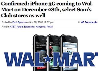 「iPhone」ウォルマートで販売へ