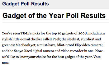 TIMEによる「Gadget of the Year 2008」