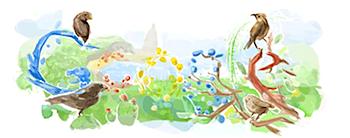 Googleロゴ「charles darwin」に