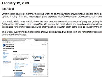 「Google Chrome for Mac」スクリーンショットが公開