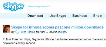 「Skype for iPhone」リリースから2日で100万ダウンロード突破