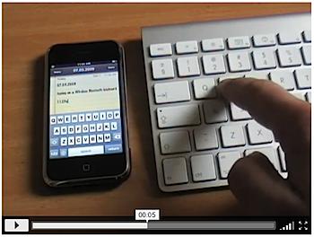 「iPhone」iPhone OS 3.0でBluetoothキーボードを使っている動画?