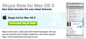 「Skype Beta for Mac OS X(2.8.0.438)」リリース