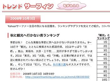 「観光」とともに検索されない都道府県ランキング