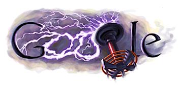 Googleロゴ「nikola tesla(ニコラ・テスラ)」に