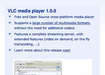 オープンソースのメディアプレイヤー「VLC media player 1.0」リリース
