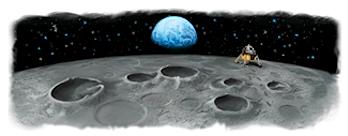 "Googleロゴ「月面着陸」に(Google Earthに月探索""Moon""機能)"