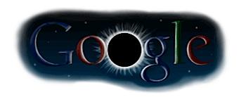 Googleロゴ「皆既日食」に
