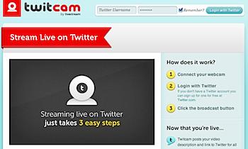 Twitterでストリーミング中継できる「twitcam」