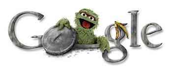 Googleロゴ「オスカー(セサミストリート)」に