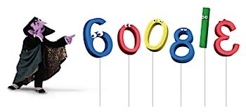 Googleロゴ「カウント伯爵(セサミストリート)」に