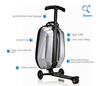 キックボード x サムソナイト = 乗れる旅行バッグ