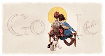 Googleロゴ「ノーマン ロックウェル」に